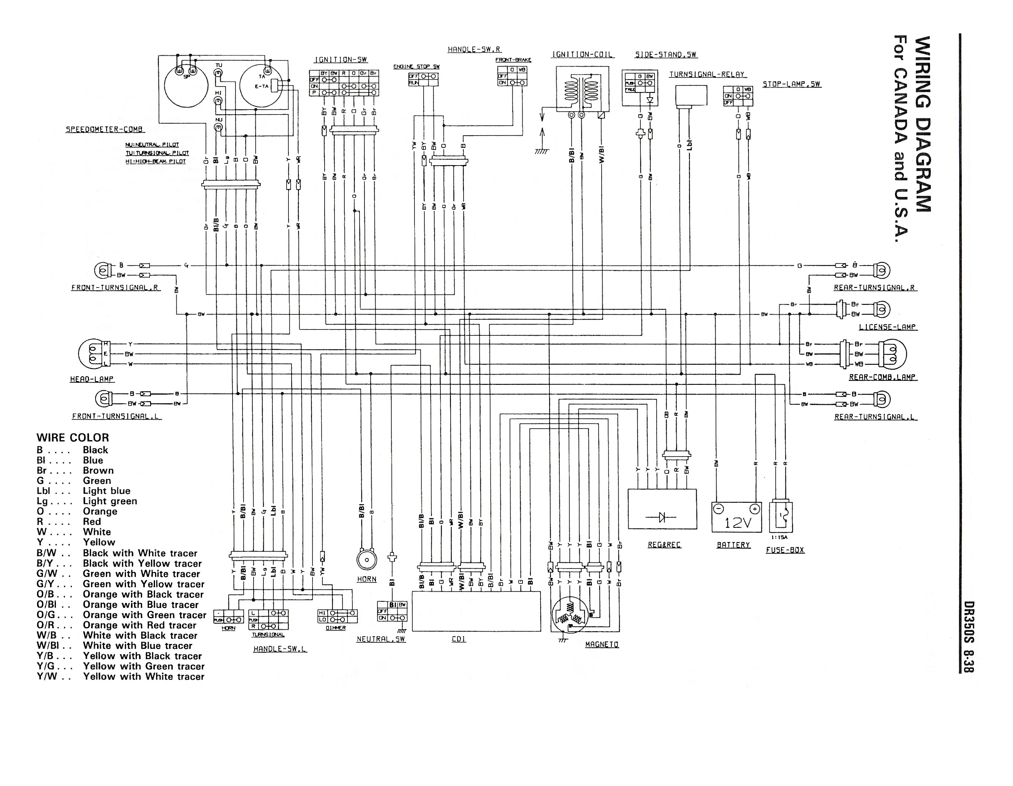 wiring diagram for the dr350 s (1990 and later models - canada, usa) -  suzuki parts - suzuki dr350 - topics - gregory bender  74.124.194.191